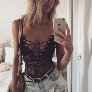 Tops - NEW! Sexy Lace up body suit